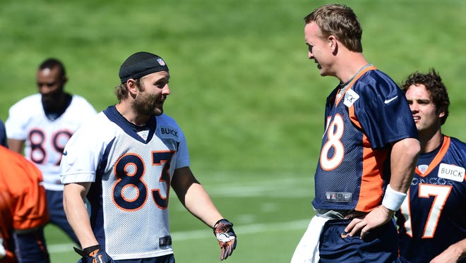 Wide receiver Wes Welker (83) talks with  quarterback Peyton Manning during organized team activities at the Broncos'  training facility  May 30.