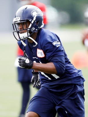 Seattle Seahawks wide receiver Percy Harvin (11) participates in organized team activities on May 20, 2013.