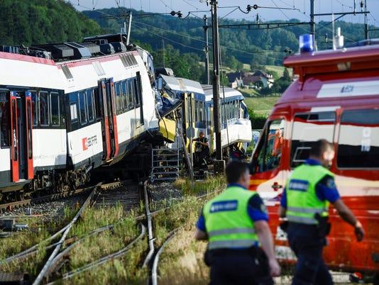Trains crash head-on in Switzerland; dozens hurt