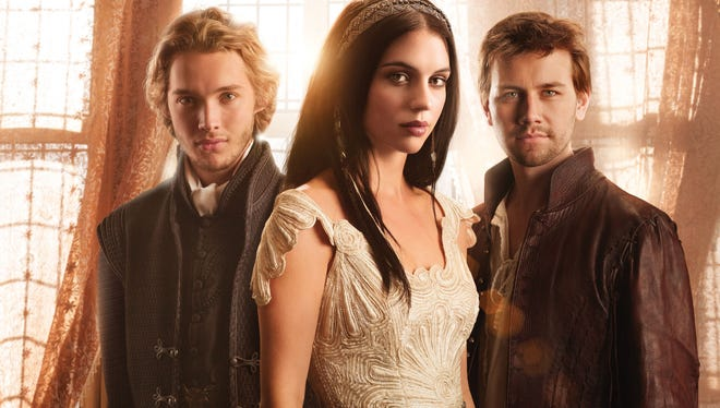 Adelaide Kane plays the teenage Mary, Queen of Scots, with Torrance Coombs, right,  as Bash, and Toby Regbo as Prince Francis.