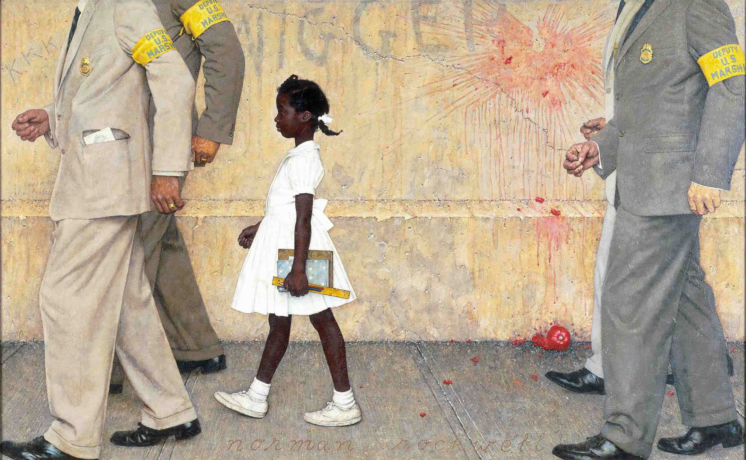 """Norman Rockwell depicted Ruby Bridges' history-changing walk in his painting """"The Problem We All Live With."""""""