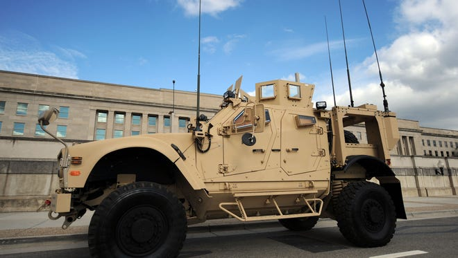 MRAPs protect troops against roadside bombs.