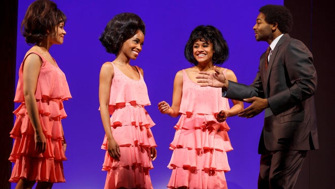 The Supremes, from left, Sydney Morton as Florence Ballard, Valisia LeKae as Diana Ross and Ariana DeBose as Mary Wilson, meet Motown founder Berry Gordy (Brandon Victor Dixon).
