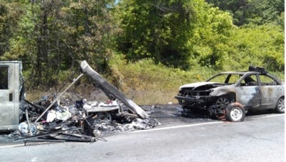 Katharine Hepburn of Knoxville, Tenn., said the  U-Haul rental truck provided to her caught fire on the highway, burning all of her possessions including her Toyota Camry.