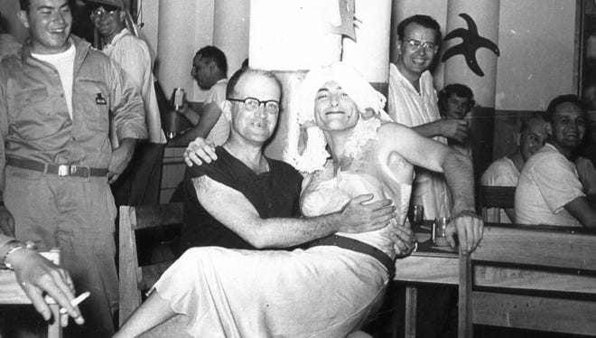 An 8055 MASH unit Halloween party in Korea. Dr. Dale and Cathy Drake later told a co-creator of the MASH TV series about Dr. Hall who showed up in drag and believe it may have inspired the Klinger character.