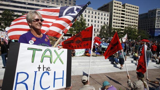 Carol Gay, of Brick, N.J., participates in a tax demonstration last October in Washington, D.C.