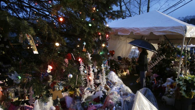 A memorial in Newtown, Conn., on Friday, a week after the mass shooting at Sandy Hook Elementary School.