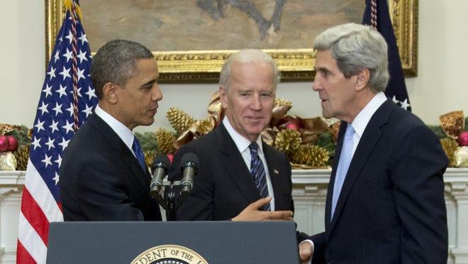 President Obama, Vice President Biden and Sen. John Kerry, who's nominated as secretary of State.