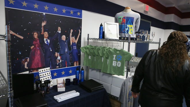 Commemorative merchandise for sale at the Presidential Inaugural Committee's store in Washington.
