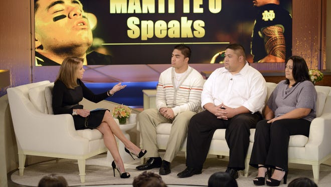 Katie Couric interviews Notre Dame linebacker Manti Te'o and his parents Tuesday.