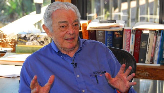 Al Neuharth in his office at his home in Cocoa Beach, Fla.