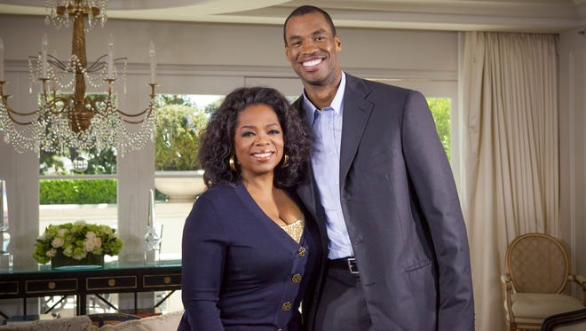 Oprah Winfrey and NBA center Jason Collins, who last week became the first active male athlete in a major U.S. team sport to say publicly that he's gay. Her interview with him aired on her network OWN.