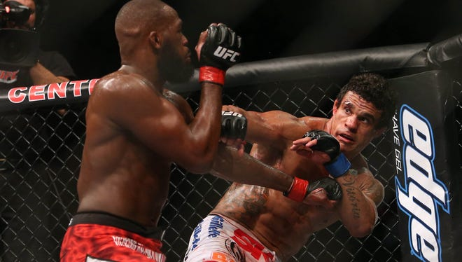 Jon Jones, left, defeated Vitor Belfort in the light heavyweight championship during UFC 152 at the Air Canada Centre.