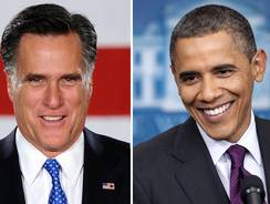 This combination of file images shows  Mitt Romney and President Obama.