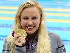 Jessica Long collects her gold medal for the women's 400 freestyle  final during the London Paralympic Games on Sept. 6.