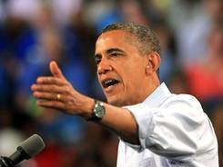 President Obama speaks during a campaign stop at Florida Institute of Technology's Charles and Ruth Clemente Center in Melbourne, Fla., Sunday.