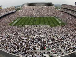 Police are investigating a suspicious package found Monday outside Penn State's Beaver Stadium.
