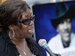 Boxing legend Joe Frazier's daughter Renae Frazier-Martin speaks during a news conference