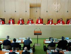 Judges of the Second Senate at the Federal Constitutional Court of Germany  open the process on complaints against the European Stability Mechanism (ESM) bailout fund in Karlsruhe, southern Germany, on July 10.