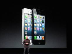 Apple CEO Tim Cook presents the new iPhone 5.