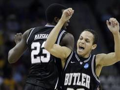 Butler guard Chrishawn Hopkins celebrates a three-pointer in an Elite Eight game March 26, 2011.