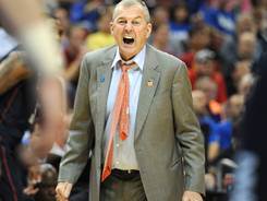 Connecticut head coach Jim Calhoun gives his team instruction during what became his last game, a loss to Iowa State in the 2012 NCAA tournament.