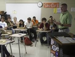 Chris Harrington teaches a safety class earlier this month at Pickens High School in South Carolina.