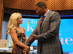 Kelly Ripa and new co-host Michael Strahan are finishing their first week of the newly-rechristened syndicated talk show, LIVE! with Kelly and Michael.