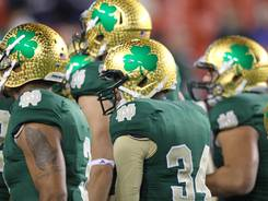 Notre Dame debuted a new helmet design for last season's game against ACC member Maryland in FedEx Field outside Washington, D.C. The Irish will soon be playing five ACC teams a season as part of an alignment with the league.