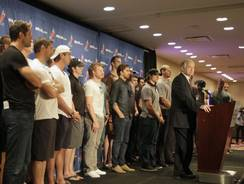 NHL Players Association executive director Donald Fehr, right, is joined by players as he speaks at a news conference on Thursday.