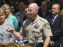 Pinal County Sheriff Paul Babeu speaks at a press conference on Aug. 31 in front of the sheriff's office in Florence, Ariz.