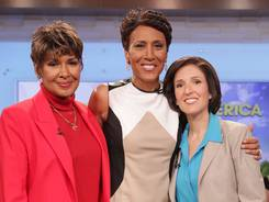 """""""Good Morning America"""" co-host Robin Roberts, center, poses with her sister Sally-Ann Roberts, left, and Dr. Gail Roboz on the popular morning show on Aug. 30."""