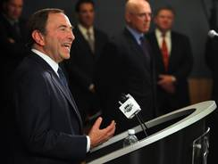 NHL Commissioner Gary Bettman speaks during a press conference at the Crowne Plaza Times Square.