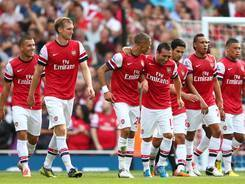 Arsenal routed newly-promoted Southampton 6-1 on Saturday, but take on English champion Manchester City and European champion Chelsea in the next two matches.