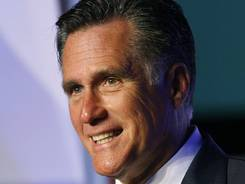 Republican presidential candidate Mitt Romney speaks to the Hispanic Chamber of Commerce? on Monday in Los Angeles.