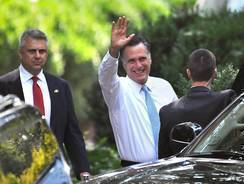 Republican presidential candidate Mitt Romney leaves a fundraiser in Charlotte, N.C., in August.