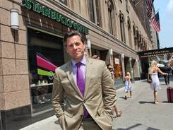 J.R. Moehringer, author of the historical novel 'Sutton,' did a lot research on this Starbucks -- the site of a Mob shooting in 1957, when it was a barbershop.