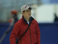 Short-track speed skating coach Jae Su Chun, shown at a 2008 practice at the Utah Olympic Oval in Kearns, Utah.