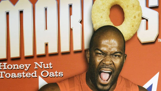 Mario Williams on the box of his own cereal, which is being sold for charity.