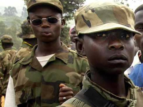 Union of Congolese Patriots (UPC) child soldiers patrolling in Iga-Barriere in 2003.