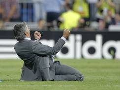 Real Madrid head coach Jose Mourinho celebrates his club's winning goal in the Champions League on Tuesday, a move which drew the ire of a Spanish journalist.