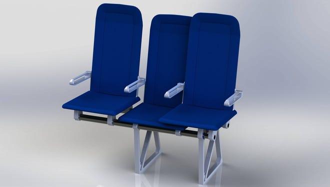 Molon Labe Designs' Side-Slip Seat is designed to create more room in the aisle.
