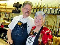 Carl Heimerdinger, seen here with wife Glenna, is the fifth generation with his family owned business, Heimerdinger Cutlery of Louisville.
