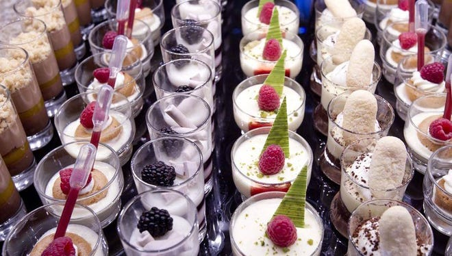 At the Bacchanal Buffet, take your pick of mousses and other treats offered in tasting-sized glasses.