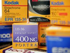 Kodak film sits on a shelf at a photography store in Chicago, Ill.
