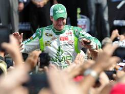 Dale Earnhardt Jr. is introduced last week at Chicagoland Speedway.