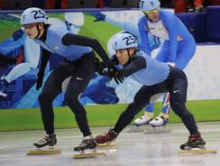 U.S. speedskater Simon Cho, left, was allegedly ordered by coach Jae Su Chun to tamper a Canadian rival's skates.