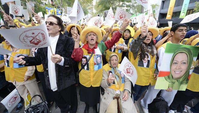 Protesters outside the United Nations rally against Iranian President Mahmoud Ahmadinejad, Wednesday, Sept. 26, 2012 in New York.