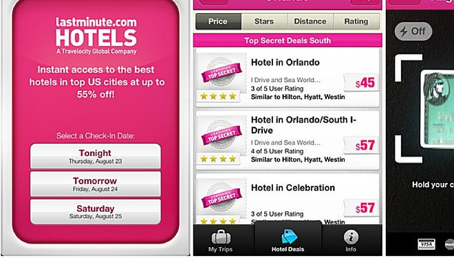 A new app from Lastminute.com allows users to search for last minute deals on hotels from their phone, get details on the specific deal and even make the reservation with their credit card using the phone.