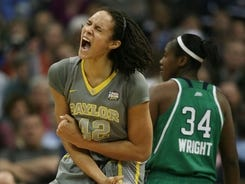 Brittney Griner, shown on April 3, led Baylor to a 40-0 season and the national championship. Now she appears headed to the Mercury with the WNBA draft's first pick.